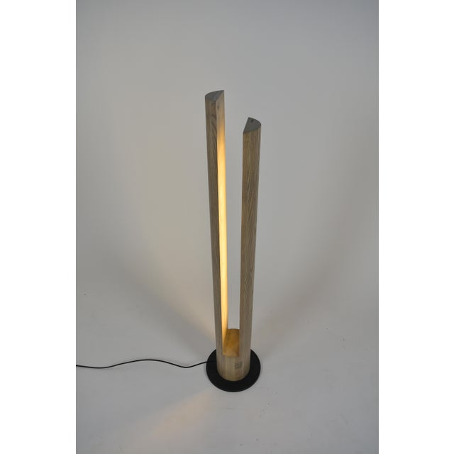 Danish Modern Ovuud Slot Over-Sized Wooden Column Dowel Led Floor Lamp With Steel Base For Sale - Image 3 of 6