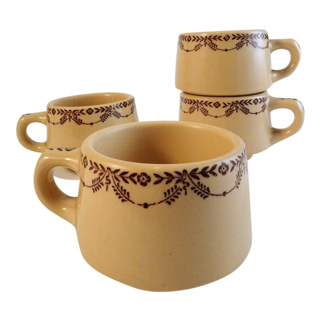 Vintage Stoneware Diner Mugs by Wallace - Set of 4
