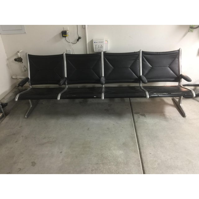 Herman Miller Black Slingback Airport 4-Seat Bench - Image 2 of 8