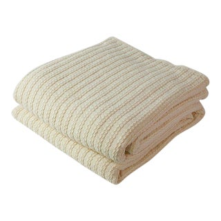 Contemporary Twin Natural Cable Knit Blanket For Sale