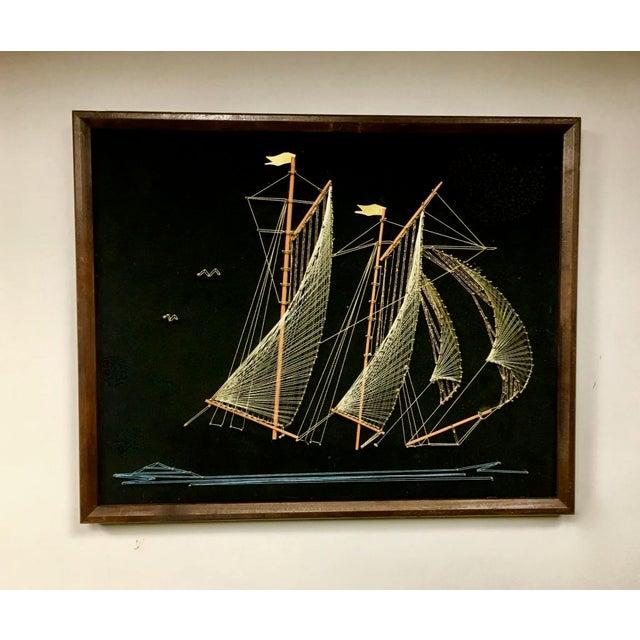 1970s 1970s Vintage Framed Sailing Ship String Art For Sale - Image 5 of 5
