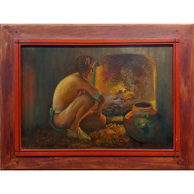 Taos Pueblo - Indian by the Fireplace - Native American Oil painting oil painting on canvas - unsigned circa 1950s frame...