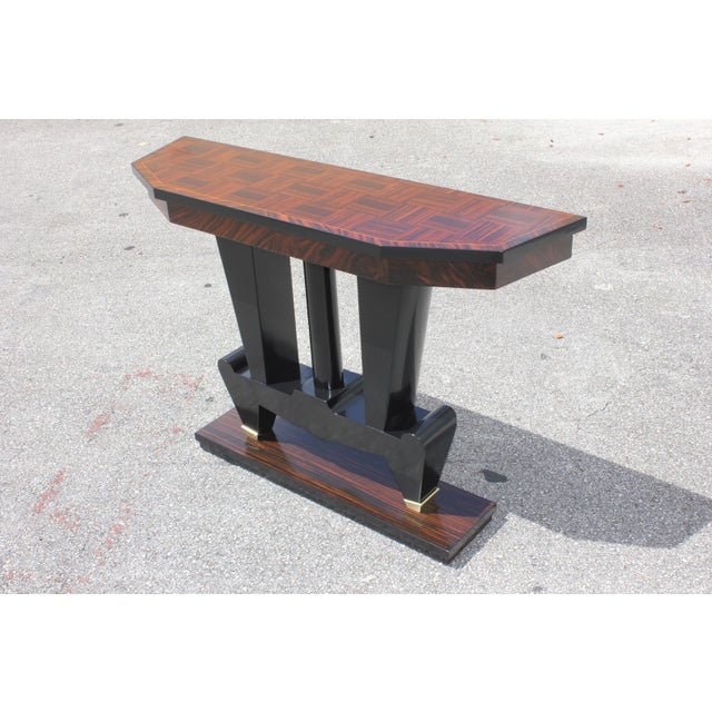 1940s 1940s French Art Deco Macassar Ebony Console Table For Sale - Image 5 of 13
