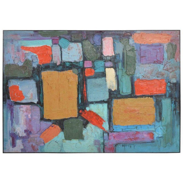 """For your consideration an abstract oil on canvas. Signed lower right corner, 1994. Dimensions: 42 1/4"""" tall x 60 1/4""""..."""