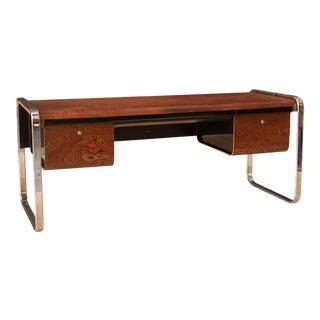 Vintage Peter Protzman Zebrawood and Chrome Executive Desk for Herman Miller For Sale