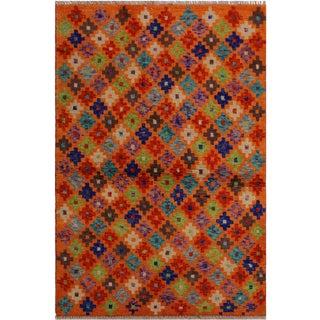 Southwestern Balouchi Andree Orange/Blue Wool Rug - 3'4 X 4'9 For Sale