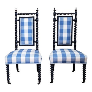 Mid 19th Century Renaissance Revival Barley Twist Throne Chairs- a Pair For Sale