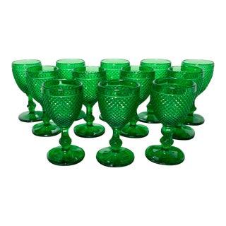 Set of 12 Vintage Green Glass Wine Glasses, Goblets For Sale