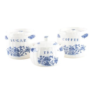 Vintage Blue and White Kitchen Canisters - Set of 3