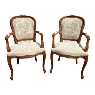 Pair French Provincial Country Louis XVI Off White Floral Tapestry Chairs For Sale