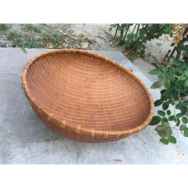 Asian Boho Chic Round Winnowing Basket For Sale - Image 3 of 4