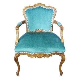 Late 19th Century Antique French Louis XV Carved Walnut Fauteuil Arm Chair For Sale