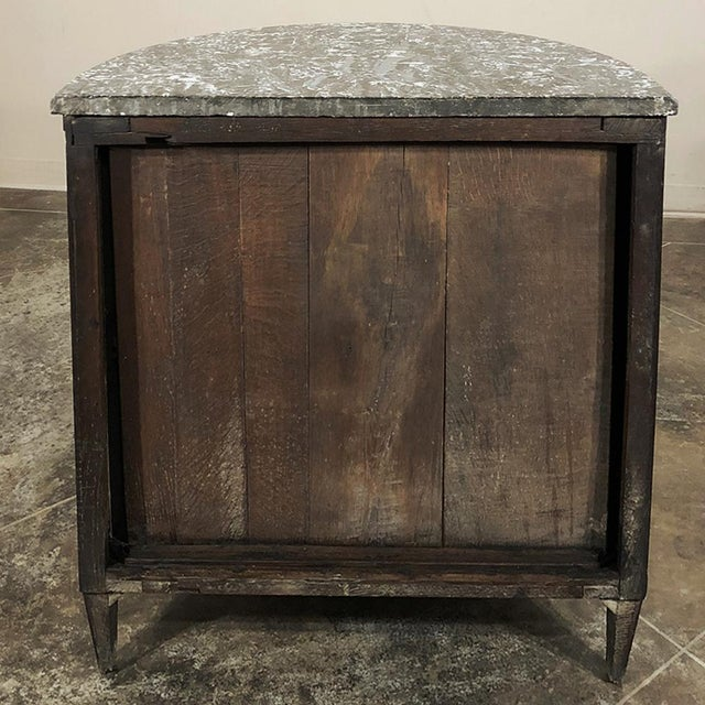 19th Century French Louis XVI ~ Directoire Mahogany Demilune Marble Top Cabinet For Sale - Image 10 of 11