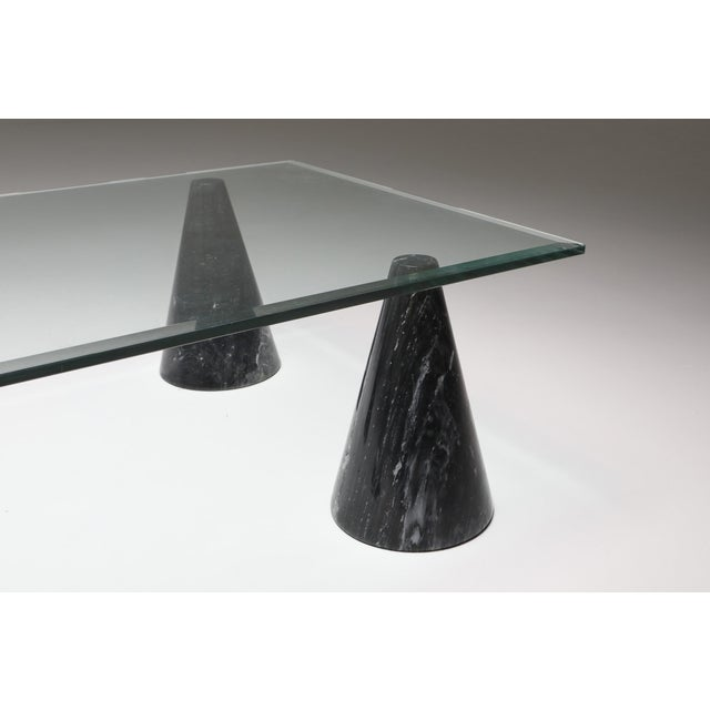 Marble and Glass Coffee Table in the Style of Massimo Vignelli - 1970s For Sale - Image 9 of 10