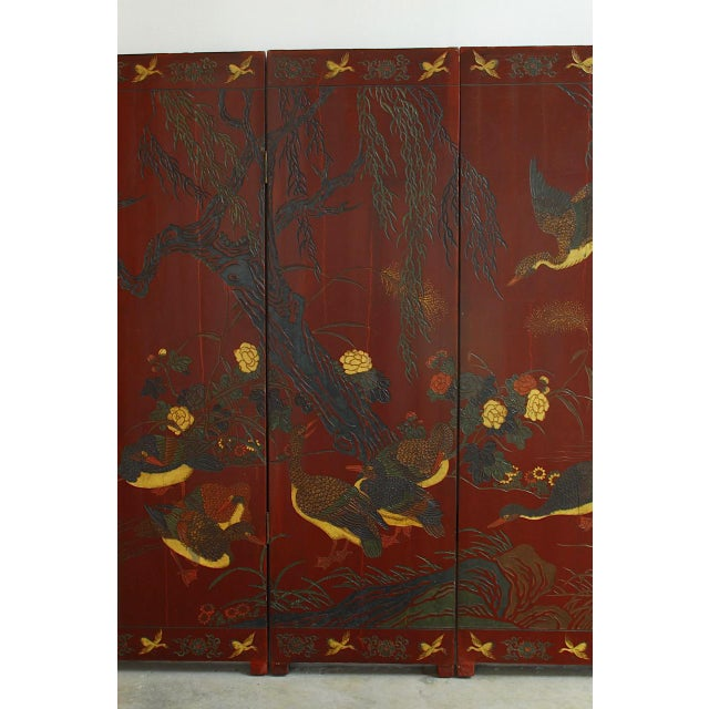 Asian Chinese Coromandel Style Two-Sided Lacquer Screen For Sale - Image 3 of 13