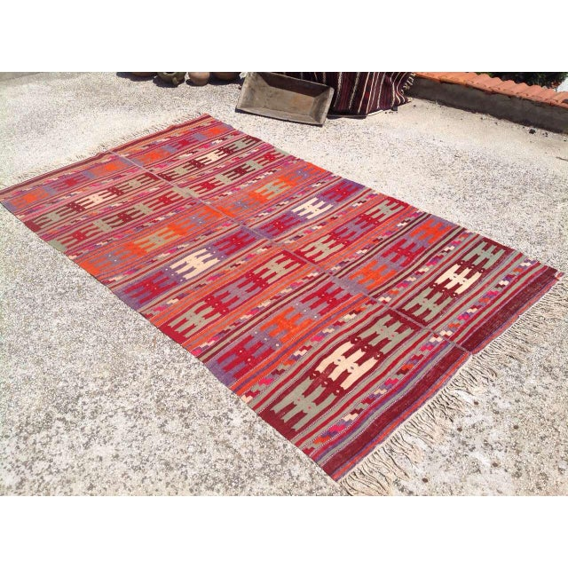 Boho Chic Vintage Turkish Kilim Rug - 5′1″ × 8′8″ For Sale - Image 3 of 7