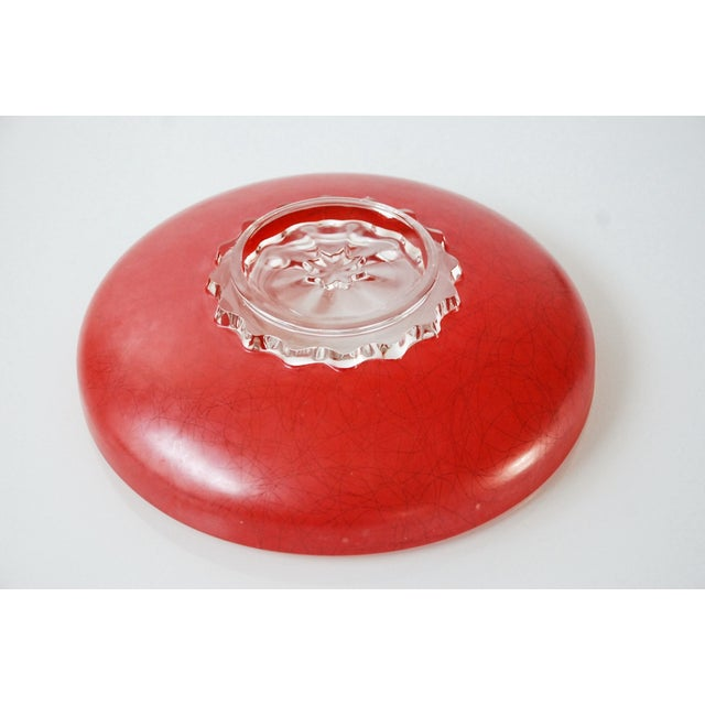 Large Red Mid-Century Glass Bowl - Image 6 of 6