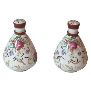 Hand Painted Floral Scent Bottles - Pair