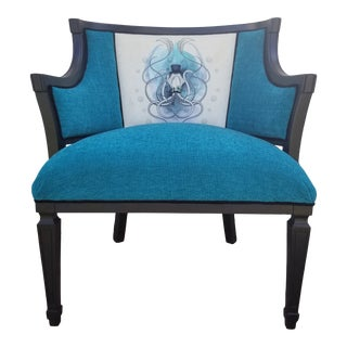 Mid Century Squid Velvet and Chenille Armchair For Sale
