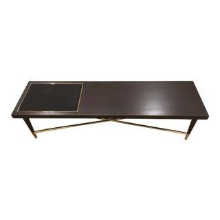 Espresso Wood & Brass Bench