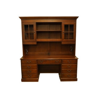 """Hooker Furniture Traditional Style Cherry 73"""" Computer Desk W/ Cabinet Bookcase For Sale"""