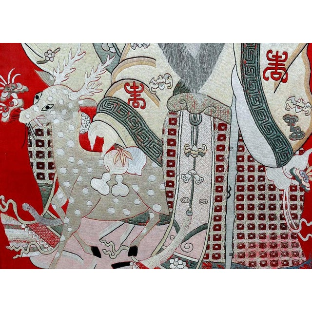 Framed Chinese Embroidery Panel of Longevity Deities For Sale - Image 10 of 13