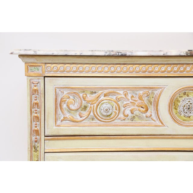 Painted Venetian Style Commode With Marble Top For Sale - Image 4 of 12