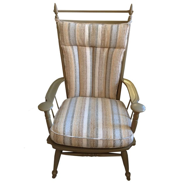 Windsor Chair with Striped Upholstered Cushions - Image 1 of 4