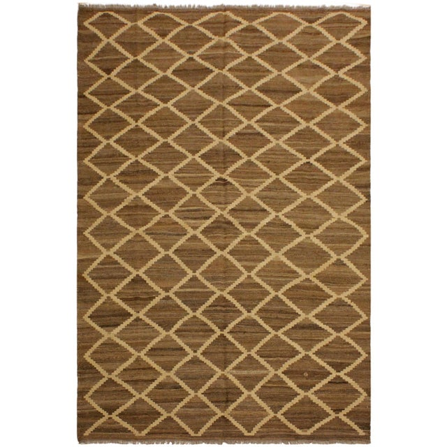 Brown Boho Chic Yestin Lt. Brown/Ivory Hand-Woven Kilim Wool Rug -5'3 X 8'0 For Sale - Image 8 of 8