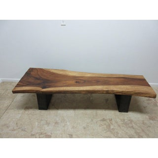 Vintage Walnut & Steel Reclaimed Wood Live Edge Coffee Table Preview