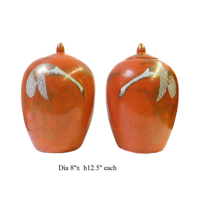 Chinese Orange Cranes Porcelain Oval Jars - Pair - Image 5 of 5