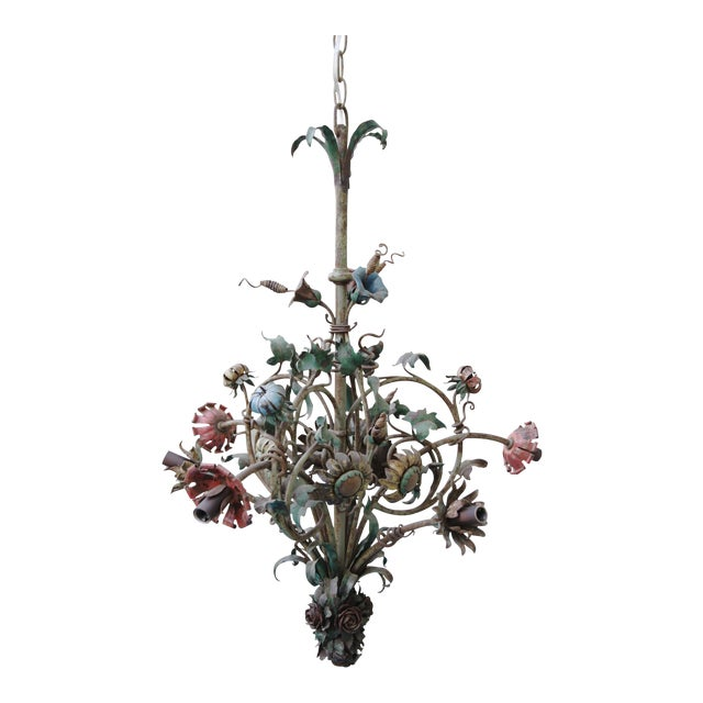 6-Light French Wrought Iron Chandelier - Image 1 of 6
