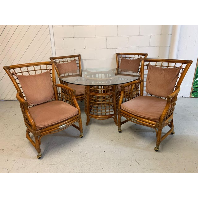 Rattan and Brass Dining Set For Sale - Image 9 of 10
