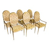 Image of 1960s Vintage Mastercraft Brass Tufted Velvet Dining Chairs - Set of 6 For Sale