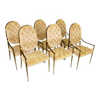 1960s Vintage Masterraft Brass Tufted Velvet Dining Chairs - Set of 6 For Sale