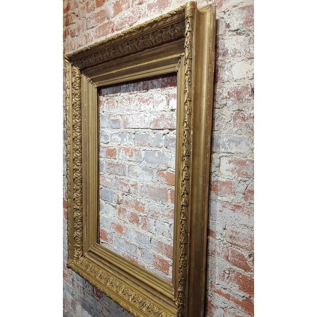 Americana 19th Century Large Ornate Carved Gilt Wood Frame - C1860s For Sale - Image 3 of 8