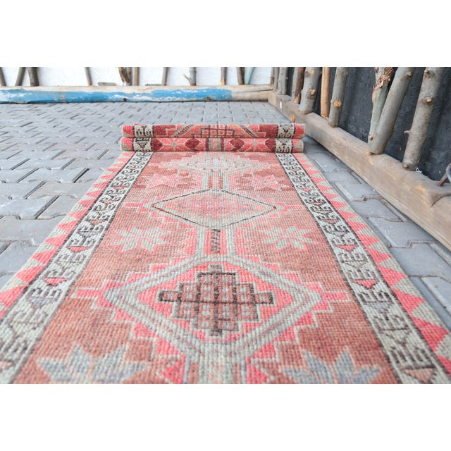 """Textile 1950's Vintage Turkish Hand-Knotted Hallway Runner Rug - 2'6"""" X 12'9"""" For Sale - Image 7 of 11"""