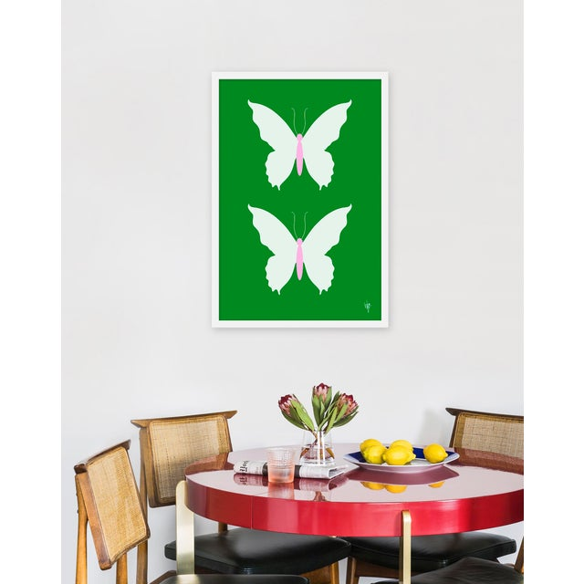"Contemporary Medium ""Butterfly White on Green"" Print by Wendy Concannon, 21"" X 31"" For Sale - Image 3 of 3"