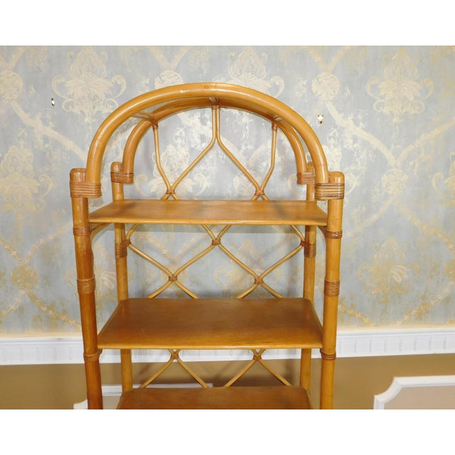 Arched Rattan & Bamboo Etagere - Image 6 of 7