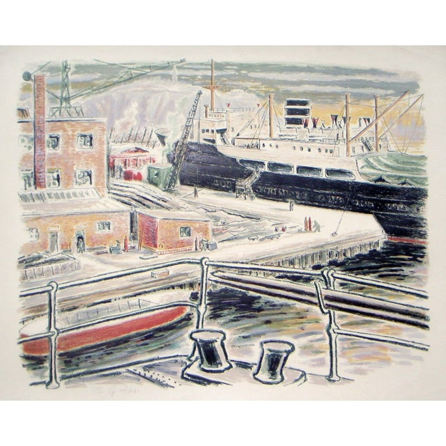 Alexanderson Swedish Harbor 1940s Color Lithograph For Sale - Image 5 of 6