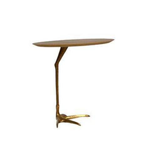 Side table featuring walnut veneer top and flamingo leg design cast bronze base. Made in the 2010s.
