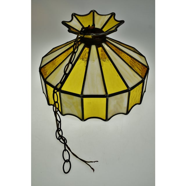 Vintage Tiffany Style Leaded Glass Pendant Light Chandelier For Sale - Image 10 of 13