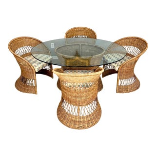 Vintage Boho Chic Sculpted Rattan Barrel Back Dining Set - 7 Pieces For Sale