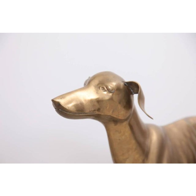 1960s Extraordinary Huge Brass Dog or Greyhound, 1960s For Sale - Image 5 of 7