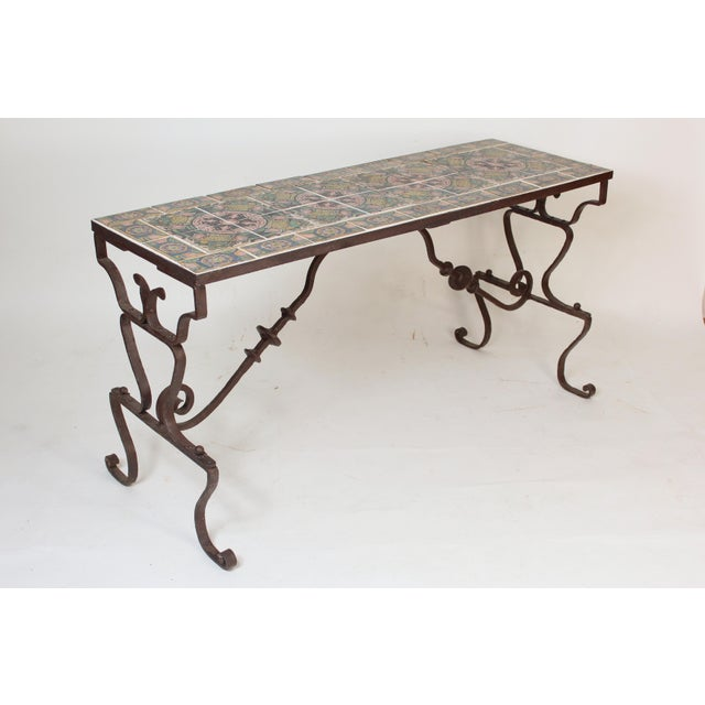1950s Spanish Tile Top Wrought Iron Patio Table For Sale - Image 5 of 13