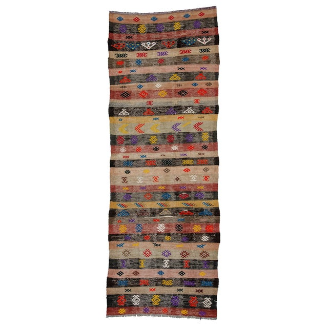 Textile Decorative Vintage Turkish Kilim Runner- 3′3″ × 8′8″ For Sale - Image 7 of 7