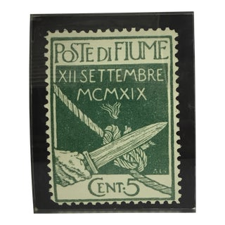 Enlarged Antique Poste DI Fiume Stamp
