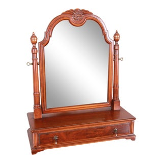 Landstrom Furniture French Carved Burled Walnut Dresser Top Swing Mirror, Circa 1940s For Sale