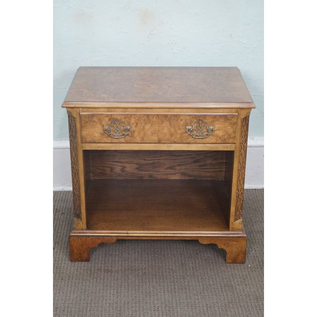Baker Burl Walnut Chippendale Style Nightstands - A Pair - Image 8 of 10