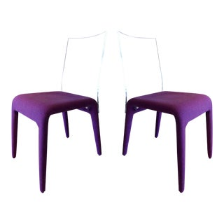 Set of Six Altuglass Dining Chairs in Purple Wool by Roche Bobois For Sale